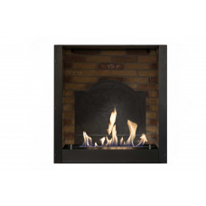 Ethanol fireplace Ruby Fires Built-in Unit L with stone decor and medallion