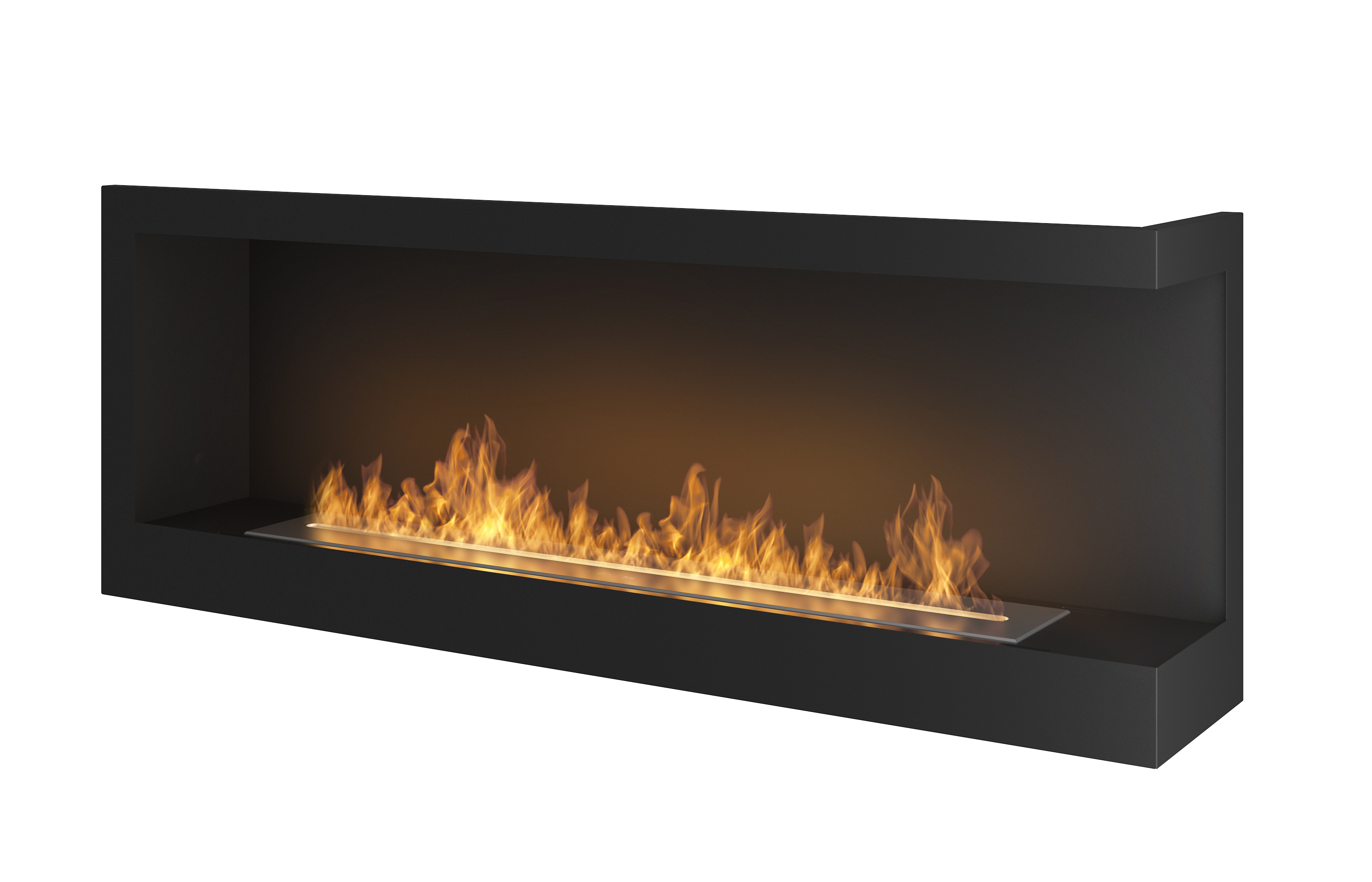 bio built recessed inch in venice ventless wall fireplace p ethanol mounted